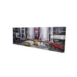 Canvas 16 x 48 - 3D - Abstract street with yellow taxis