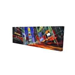 Canvas 16 x 48 - 3D - Colorful times square by night
