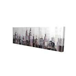 Canvas 16 x 48 - 3D - Abstract grayscale cityscape