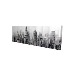 Toile 16 x 48 - 3D - Ville grise avec éclats de peinture