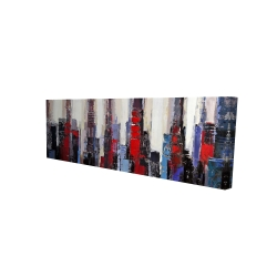 Canvas 16 x 48 - 3D - Abstract red and blue buildings