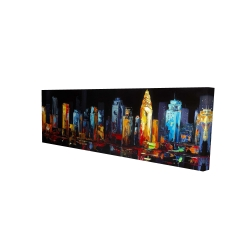 Canvas 16 x 48 - 3D - Colorful abstract cityscape on a dark background