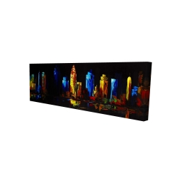 Canvas 16 x 48 - 3D - Colorful buildings on a dark background