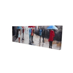 Canvas 16 x 48 - 3D - People with umbrellas in the street