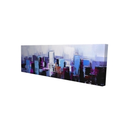Canvas 16 x 48 - 3D - Abstract blue & purple city