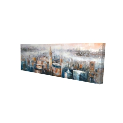 Canvas 16 x 48 - 3D - Cityscape of new york with the chrysler building