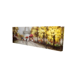 Canvas 16 x 48 - 3D - Passersby near the eiffel tower