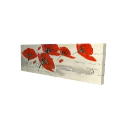Canvas 16 x 48 - 3D - Abstract red flowers in the wind