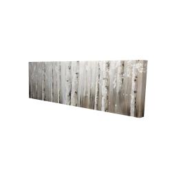 Toile 16 x 48 - 3D - Bouleaux blanc sur fond gris