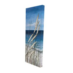 Canvas 16 x 48 - 3D - Wild herbs in the wind on at the beach