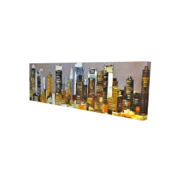 Canvas 16 x 48 - 3D - Texturized skyscrapers by night