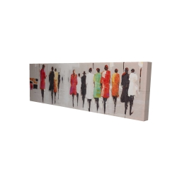 Canvas 16 x 48 - 3D - People's silhouette on the street