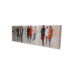 Canvas 16 x 48 - 3D -  silhouettes in the street