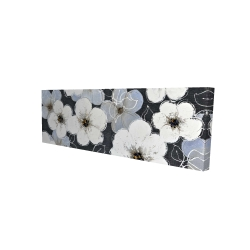Canvas 16 x 48 - 3D - White flowers with leaves outlines