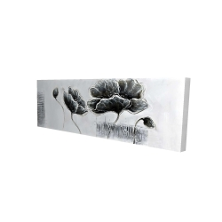 Canvas 16 x 48 - 3D - Industrial style grayscale flowers