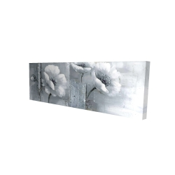 Canvas 16 x 48 - 3D - Gray & white flowers