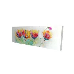 Canvas 16 x 48 - 3D - Four colorful flowers
