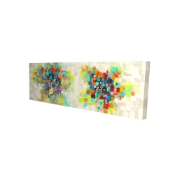 Canvas 16 x 48 - 3D - Flowers made of squares