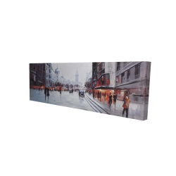 Canvas 20 x 60 - 3D - Street scene with cars