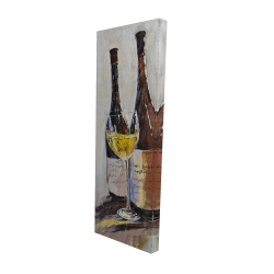 Canvas 20 x 60 - 3D - Two bottles with a glass of white wine