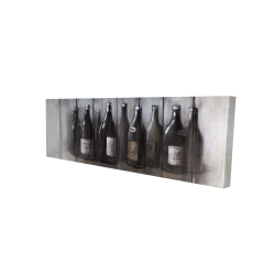 Canvas 16 x 48 - 3D - Bottles of wine with wood finish
