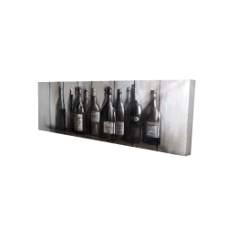 Canvas 16 x 48 - 3D - Bottles of wine on wood