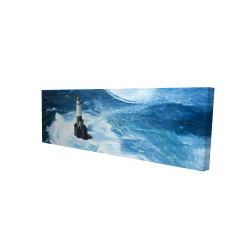 Canvas 16 x 48 - 3D - Unleashed waves on a lighthouse