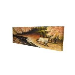 Canvas 16 x 48 - 3D - Park bench by fall