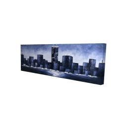 Canvas 16 x 48 - 3D - Dark blue cityscape