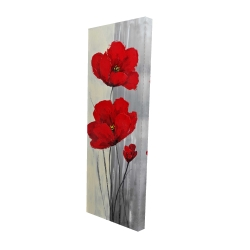 Canvas 16 x 48 - 3D - Red flowers on a gray background