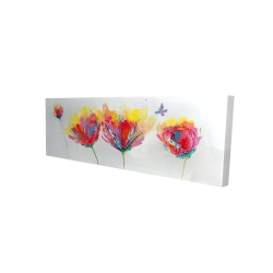 Canvas 16 x 48 - 3D - Colorful flowers with a butterfly