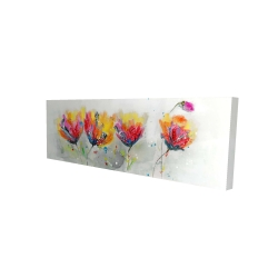 Canvas 16 x 48 - 3D - Four colored flowers on gray background