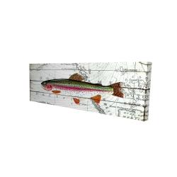 Canvas 16 x 48 - 3D - Trout on a world map