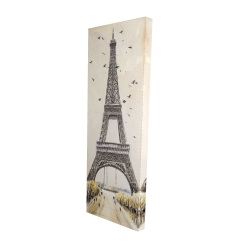 Canvas 16 x 48 - 3D - Eiffel tower with flying birds