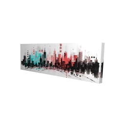 Canvas 16 x 48 - 3D - Colorful city with rose gold lines