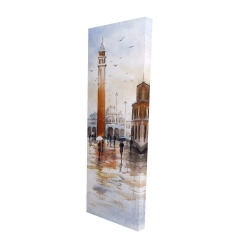 Canvas 16 x 48 - 3D - City sketch with a tower