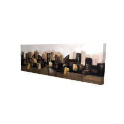 Canvas 16 x 48 - 3D - Brown abstract cityscape