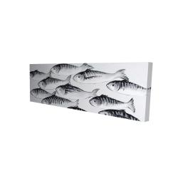 Canvas 16 x 48 - 3D - Gray school of fish 1