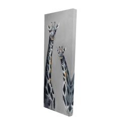 Canvas 16 x 48 - 3D - Steel blue giraffe