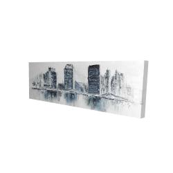 Canvas 16 x 48 - 3D - Texturized blue colors cityscape