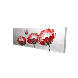 Canvas 16 x 48 - 3D - Wild flowers on gray background