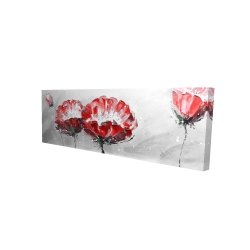 Canvas 16 x 48 - 3D - Two wild flowers on gray background