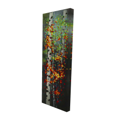 Canvas 16 x 48 - 3D - Colorful dotted leaves birches