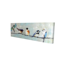 Canvas 16 x 48 - 3D - Small colorful birds