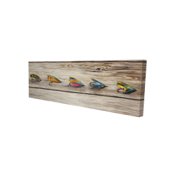 Canvas 16 x 48 - 3D - Fishing flies with wood background