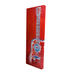 Canvas 16 x 48 - 3D - Modern red abstract guitar