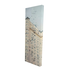 Canvas 16 x 48 - 3D - Birds flying in front of a building