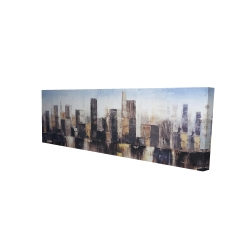 Canvas 16 x 48 - 3D - Striped abstract buildings