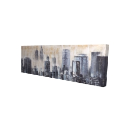 Toile 16 x 48 - 3D - Buildings through the clouds
