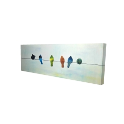 Canvas 16 x 48 - 3D - Perched abstract birds